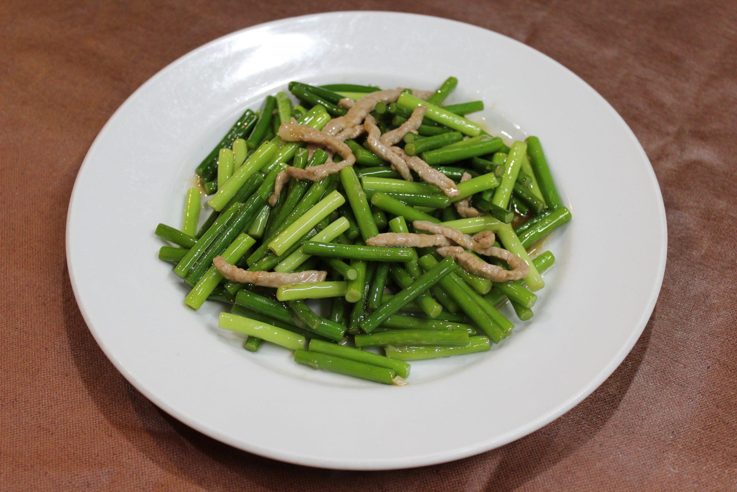 【炒蒜台】豚肉とニンニクの芽の炒め物