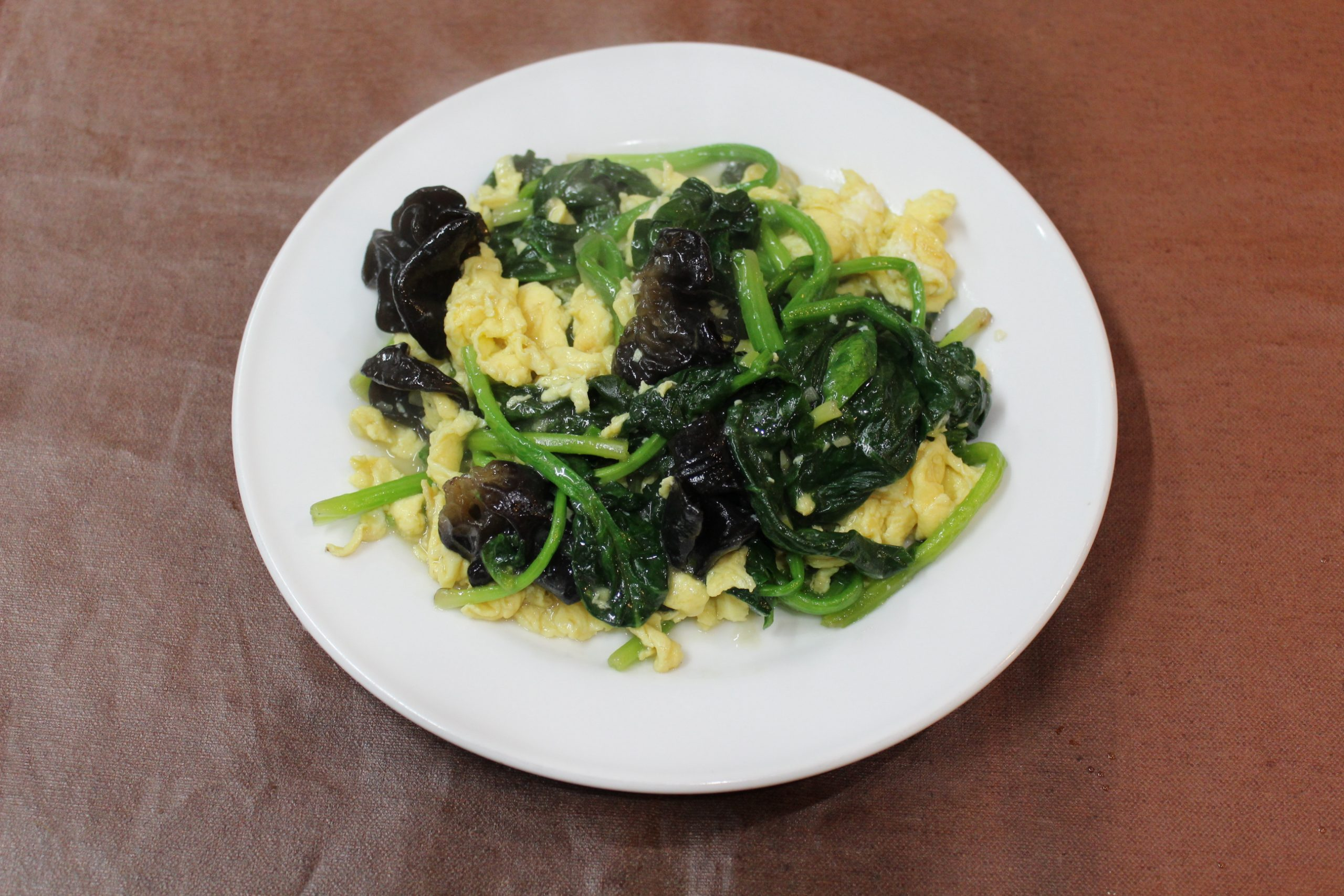 【菠菜木耳蛋】玉子とほうれん草とキクラゲの炒めもの