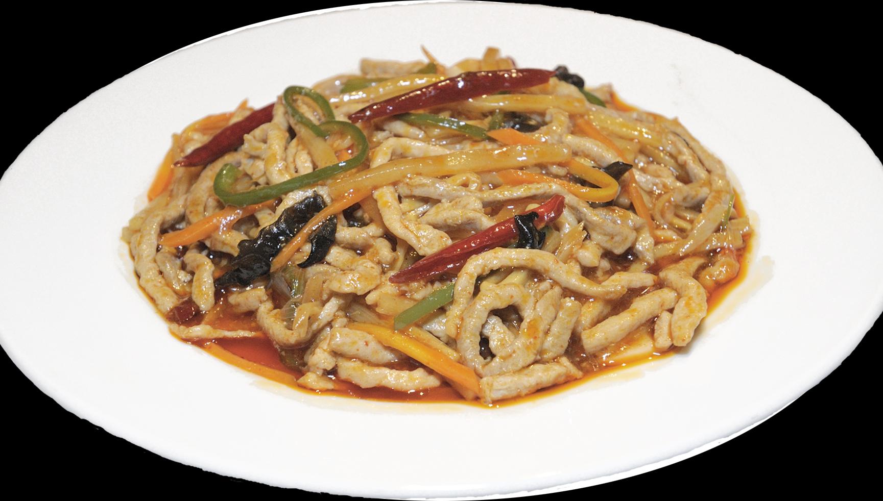 【魚香肉絲】豚肉の細切りと竹の子などの四川風炒め